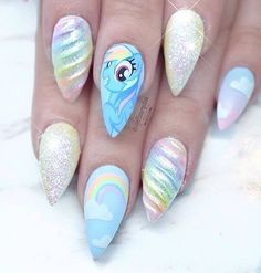 The Best unicorn nail Ideas you will fall in loveTop 25 Amazing Unicorn Nail Art Designs trendy ideas For mystical creatures, unicorns certain are becoming loads of face time lately. Unicorn Nails Designs, Unicorn Nail Art, Hair And Nails, My Nails, Disney Nails, Rainbow Dash, Rainbow Unicorn, Creative Nails, Gorgeous Nails