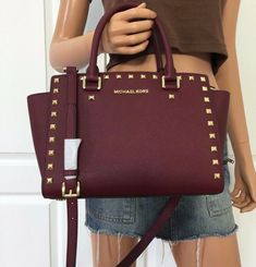 f512b43cde7e71 Details about Michael Kors Large Ciara Top Zip Crossbody Satchel Saffiano  Leather