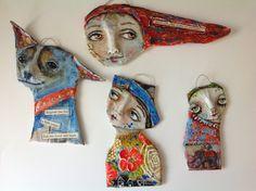Freestyle Faux Mache Paper Mache Clay, Paper Mache Sculpture, Paper Mache Crafts, Clay Art, Plate Crafts, Paper Dolls, Art Dolls, Paper Puppets, Paperclay