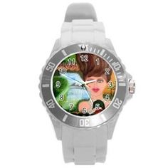 The Girl  With A Wooden Hair UNISEX Plastic Sport Watch (Large) by Jocelyn APple/Appleartcom. Plastic Sport Watch (Large) by Jocelyn Apple/Appleartcom Round Plastic Sport Watch (L).