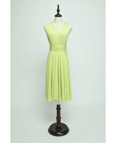 Short Infinity Bridesmaid dress in  Green Yellow