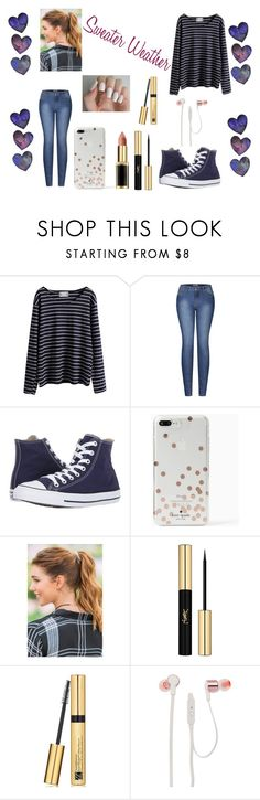 """""""Striped Sweater Weather"""" by liana-love ❤ liked on Polyvore featuring WithChic, 2LUV, Converse, Kate Spade, Francesca's, Yves Saint Laurent, Estée Lauder and JBL"""