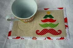 Mustache Christmas Tree Mug Rug pattern on Craftsy.com