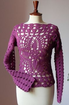 Crocheted Lace Sweater Tank Long Sleeves Pink - Handmade OOAK - Urban Cool