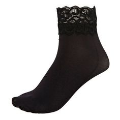River Island Black Lace Trim Jonathan Aston Ankle Socks ($7.09) ❤ liked on Polyvore