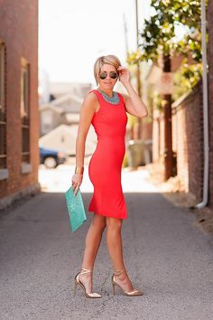 Your board says this dress is red, but it looks like orange to me -- orange with turquoise is a great combo for me.  Red with turquoise may be too intense. And even when I'm thin, I don't like clothes so form-fitting.