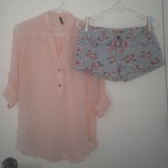 WHOLE OUTFIT Small Love Culture Sheer Blush Colored Button up Blouse (Orig $18) Size 5 Mossimo Light Blue Denim Shorts with Pink/Gray Floral Pattern (Orig $20) Love Culture Other