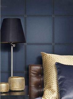 Faux Leather Tile Wallpaper in Blue by BD Wall | BURKE DECOR