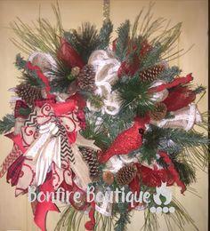 Winter Cardinal Wreath- $100 Please like my page on Facebook @ Bonfire Boutique