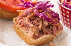 Pulled Pork Sandwich with Red Cabbage and Carrot Slaw