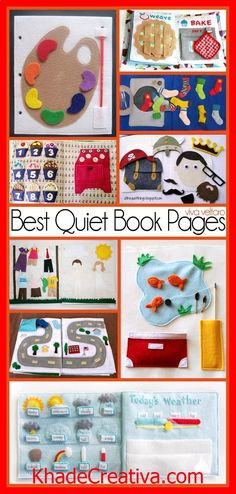 KhadeCreativa.com The best quiet book pages - perfect for when you need your child to be quietly entertained at church or anywhere really! source by :http://pinterest.com/pin/119697302573563216/