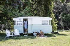 How we transformed a tired vintage caravan into our ultimate holiday home on wheels; Meet Millie - Cedar & Suede-- How we transformed a tired vintage caravan into our ultimate holiday home on wheels; The Block, Vintage Caravans, Vintage Travel Trailers, Vintage Campers, Retro Trailers, Camper Trailers, Retro Caravan, Caravan Ideas, Camper Ideas