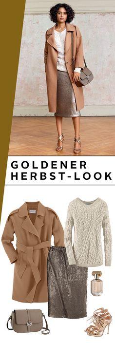 Goldene Aussichten für deinen Herbst! Langmantel, Pailletten-Bleistiftrock, Strickpulli und Crossbody-Bag – der Stardesigner Guido Maria Kretschmer verleiht dir mit diesem Outfit einen eleganten Glamour-Touch für alle Anlässe.