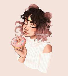 Donut girl ✨ insp: sketches рисунки, рисунок и Amazing Drawings, Beautiful Drawings, Cute Drawings, Amazing Art, Pretty Art, Cute Art, Simply Kenna, Itslopez, Dibujos Cute