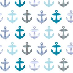 Nautical blue anchor pattern on white fabric by inspirationz on Spoonflower - custom fabric