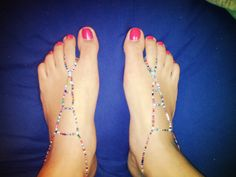multi-colored seed bead barefoot sandals