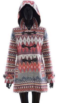 Ladies Aztec prnt Toggle Jacket Coat In Red