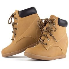 Sneaker Wedges | Top Moda ORIANA Lace Up All Weather Fashion Casual... ($26) ❤ liked on Polyvore featuring shoes, sneakers, boots, lace up wedge sneakers, nubuck shoes, hidden wedge sneakers, lace up sneakers and wedge sneakers
