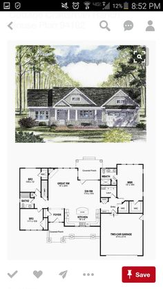 Craftsman House Plan 94182 Total Living Area 1720 sq ft 3 bedrooms and 2 bathrooms Ranch House Plans, Craftsman House Plans, New House Plans, Dream House Plans, Small House Plans, House Floor Plans, My Dream Home, Dream Houses, Retirement House Plans