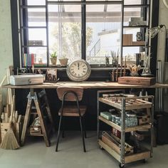 Industrial style work space- saw horses allow you to make a table or desk any size you need.