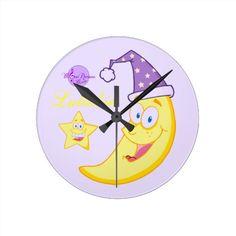 Sleepy Moon Lullabies Round Medium Wall Clock #clock #baby #nursery #moon #stars #purple