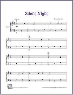 Silent Night (Christmas) | Printable Sheet Music for Easy Piano - http://makingmusicfun.net/htm/f_printit_free_printable_sheet_music/silent-night-piano-solo.htm