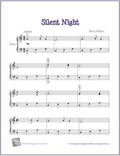 Silent Night (Christmas) | Free Sheet Music for Easy Piano - http://makingmusicfun.net/htm/f_printit_free_printable_sheet_music/silent-night-piano-solo.htm