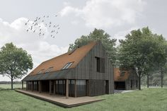 Openings step back from timber cladding Cottage Style House Plans, Rural House, House In The Woods, Contemporary Barn, Modern Barn, Modern Farmhouse, Barn House Conversion, House Cladding, Timber Cladding