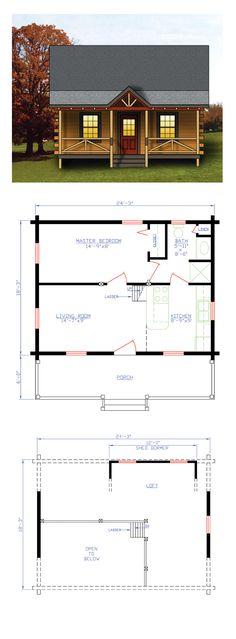 Log Home Plan 74108 | Total Living Area: 744 sq. ft., 1 bedroom and 1 bathroom. #loghome