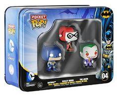 Funko Batman DC Comics Pocket Pop! Mini Vinyl Figure Tin (3-Pack)! Harley Quinn, Batman, and The Joker!