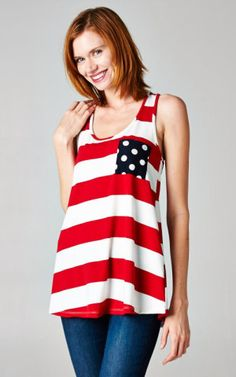 Independence Tank in Red 4th of July Independence Day wear by 12 pm Mon Ami