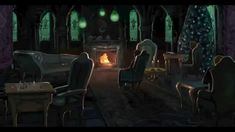 One hour of perfect Slytherin Common Room Ambience. Sink into a worn leather seat, and hear the crackle of the warm fire and the occasional bubbling and gurgling from the bottom of the lake..