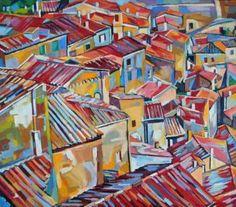 """Saatchi Art Artist Maja Đokić Mihajlović; Painting, """"Red roofs"""" #art"""