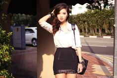 Nude Button Up Blouse + Black Bodycon Skirt + Black Leather Bag + Black Stacked Bracelets
