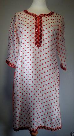 Womens Indian KURTA Silk Tunic Sequins Red Dots Dress Ethnic Kurti Costume?