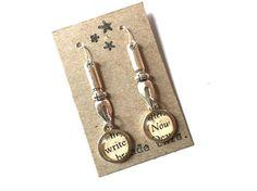 Writer Earrings Jewelry OOAK Inspirational Words Dangle Ink