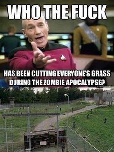 Walking dead zombies cut grass funny humor picquard star trek