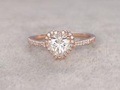 adaac0e9b017 1 ct brillantes Moissanite compromiso anillo de oro