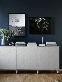 Dark green grey walls, modern sideboard, tv console