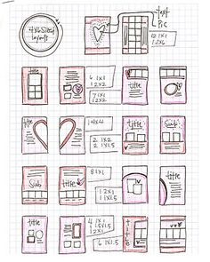 layout sketches for small 4x6 mini scrapbook