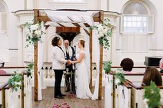 Elana and Jen's chuppah looked naturally elegant in our meeting house.   Mazel tov to Elana and Jen on your beautiful wedding! Photography by Alex Paul.