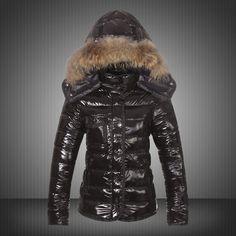 d2d6f312cbb1 Moncler Armoise Brown Fur Hooded Down Jacket pour les Femmes en Noir