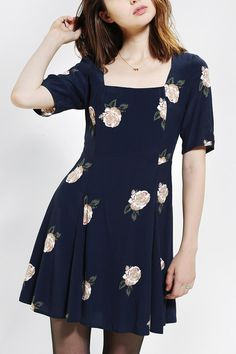 Cooperative Falling Floral Fit & Flare Dress #urbanoutfitters
