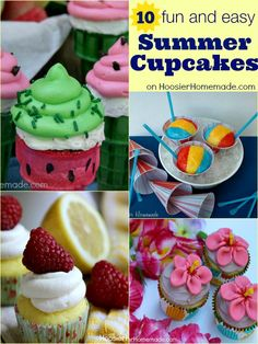Create one of these fun and easy Summer Cupcakes for your next Party, Potluck or simply to create memories with the kids! Recipes on HoosierHomemade.com