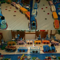 Thomas the Train cake. Camren's 3rd Birthday Party. July 2014. Each train car is a different flavor layer cake. Oreo and pretzel wheels.