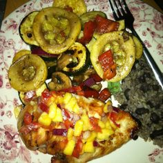 Homemade peach salsa, grilled chicken & veggies