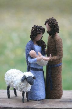 Nativity Set- Needle Felted Mary, Joseph, Jesus and Sheep/Blue and Brown