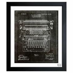 Framed canvas print with a typewriter blueprint design. Made in the USA.  Product: Wall artConstruction Material: Paper and woodColor: Black frameFeatures:  Made in the USAReady to hang  Cleaning and Care: Dust lightly