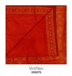 Vintage Sari Indian Orange Saree Floral Printed Craft Fabric Women Wrap Dress Curtain Drape Used 5Yd Silk Blend Crafted Material Recycled Fabric Home Decor