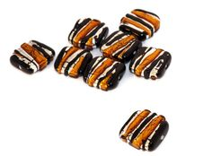 Black Gold Silver Grace Lampwork Beads Pair by CzechBeadsExclusive